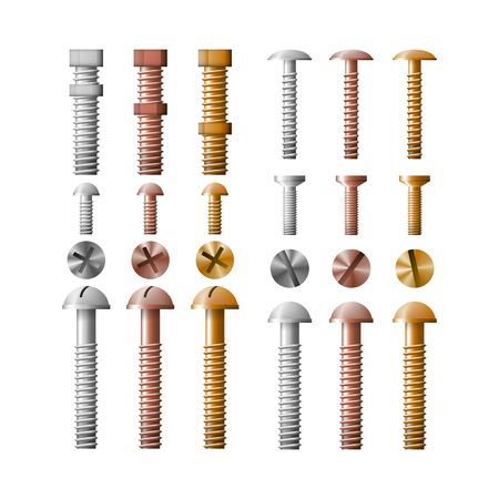 Set of stainless steel bolts, copper and bronze. The group fastener symbol vector illustration. Illustration