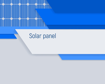 A bright blue banner with a solar panel. Industrial energy solution. Vector illustration. Illustration