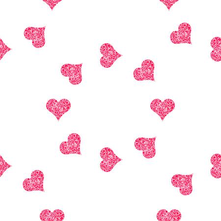 Naadloze patroonachtergrond met harten. Figuur veegt vectorillustratie af. Stock Illustratie