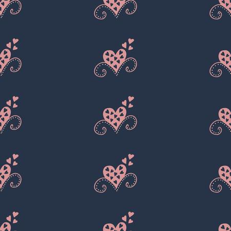 Naadloze patroonachtergrond met harten. Gordijnen vector illustratie.