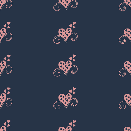Seamless pattern background with hearts. Curtains vector illustration. Illustration