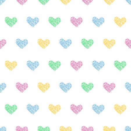 Naadloze patroonachtergrond met harten. Veil vectorillustratie. Stock Illustratie