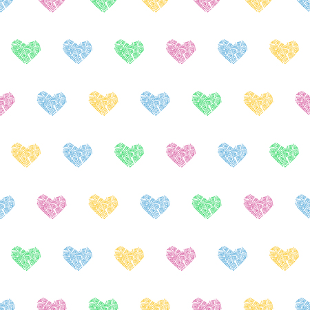 Seamless pattern background with hearts. Veil vector illustration.