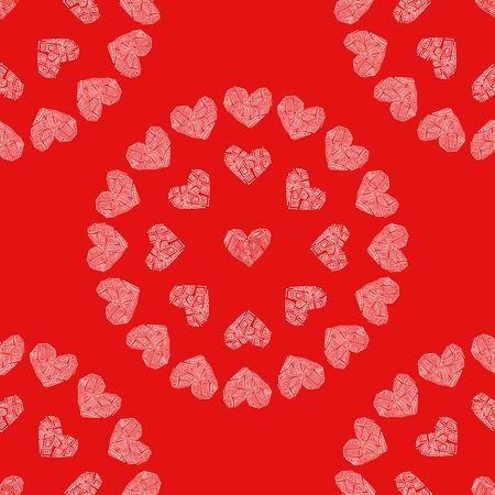 Naadloze patroon rode achtergrond met witte harten. Decoupage vectorillustratie. Stock Illustratie