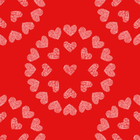 Seamless pattern red background with white hearts. Decoupage vector illustration. Illustration