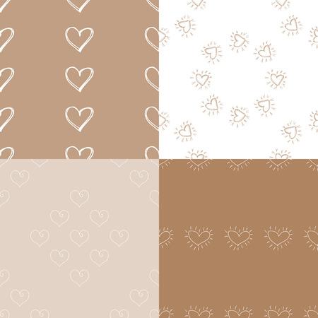 Naadloze patroonachtergrond met harten. Set van 4 achtergronden. Decoupage vectorillustratie.
