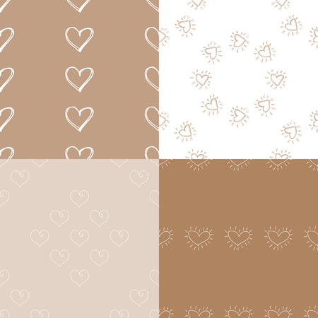 Seamless pattern background with hearts. Set of 4 Wallpapers. Decoupage vector illustration. Illustration