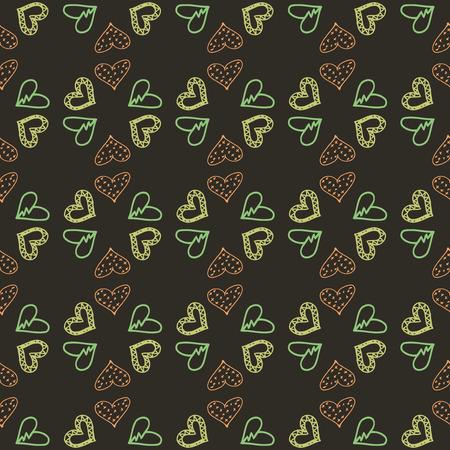 Naadloze patroonachtergrond met harten. Tafelkleed zwarte vectorillustratie.