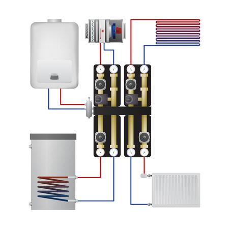 Illustration of piping condensing boiler.