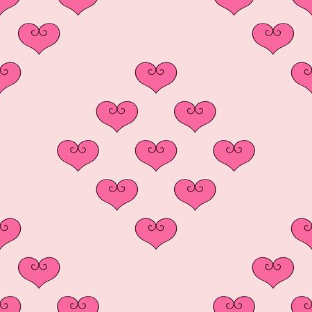 Hart vectorillustratie Naadloze patroon roze achtergrond. Stof voor bedlinnen.