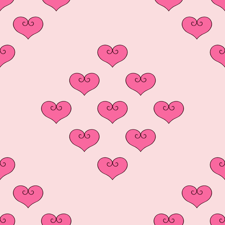 Heart vector illustration. Seamless pattern pink background. Fabric for bed linen. Illustration