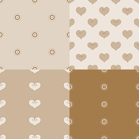 Hart vectorillustratie 4 naadloze patroon beige achtergrond. Foto scrapbooking. Stock Illustratie