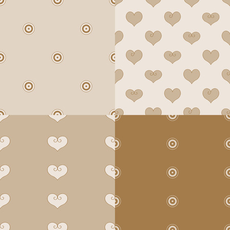 Heart vector illustration. 4 seamless pattern beige background. Picture scrapbooking.
