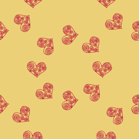 Heart vector illustration. Seamless pattern background. Textiles scrapbooking.