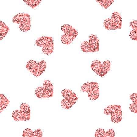 Heart vector illustration. Seamless pattern background. Fabric scrapbooking. Illustration