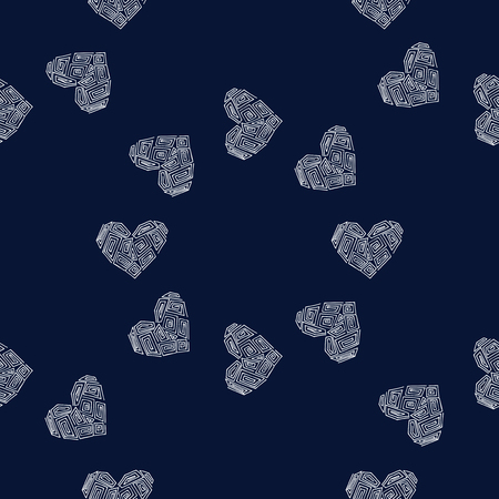 Heart vector illustration. Seamless pattern background. Cloth scrapbooking.
