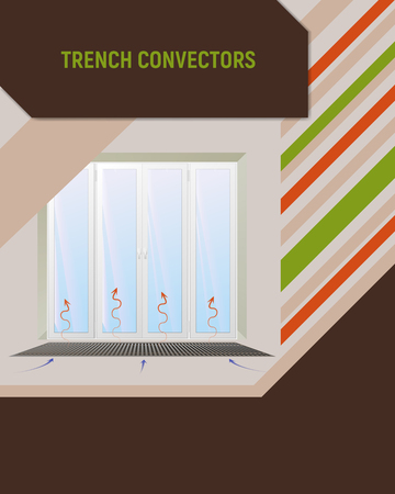 Trench convector under window. Interior design vector illustration. Ilustracja