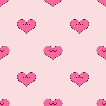 Hart vectorillustratie Naadloze patroon roze achtergrond. Stoffen scrapbooking. Stock Illustratie