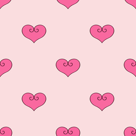 Heart vector illustration. Seamless pattern pink background. Fabric scrapbooking.