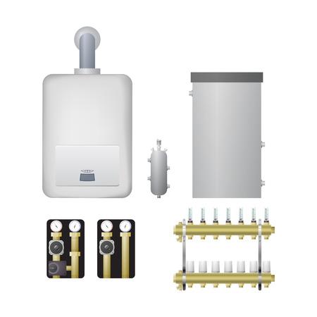 Équipement pour l'illustration vectorielle de système de chauffage. Chaudière, flèche hydraulique, unité de pompe, peigne.
