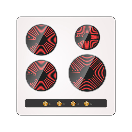 Electric stove vector illustration. Recessed ceramic surface.