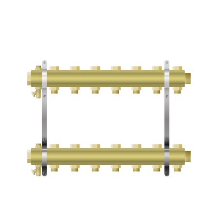 Brass manifold for heating vector illustration. Central heating.