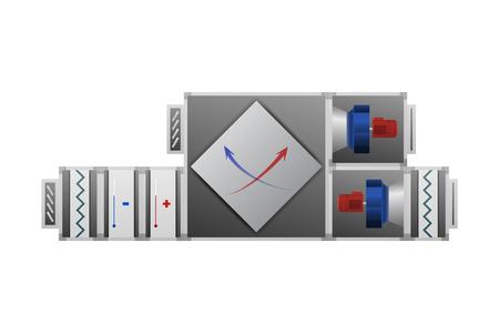 Controlador de aire con la ilustración del vector de recuperador. Imagen técnica. Foto de archivo - 89058306