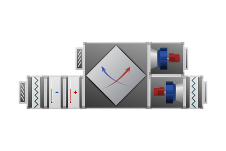 Air handler with recuperator vector illustration. Technical image. Illustration