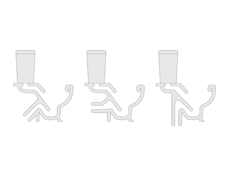 Toilet cutaway blueprint vector illustration. Set of different types.