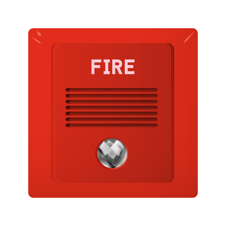 Fire alarm with light and audible alarm. Security system in office vector illustration.