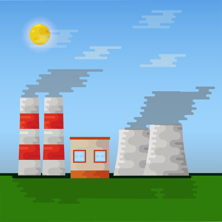 Nuclear station, vector illustration. Flat icon. Afternoon landscape