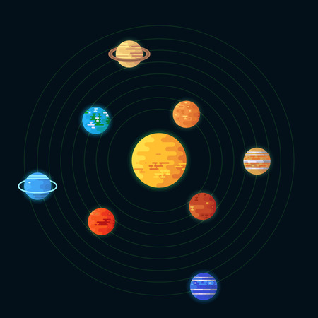 Planets rotate on an axis around the sun. Astronomy vector illustration. Illustration