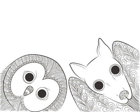 Doodle owl and bat head vector illustration. Night bird and animal Zen Tangle. Wild nature colouring book.