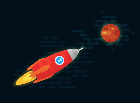 Space vehicle flies to the planet Mars. Shuttle vector illustration. Flat icons.