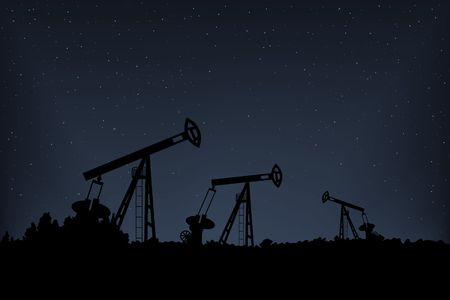 Pumpjack production diesel. Landscape with trees. Night vector illustration.