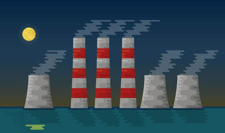 Powerplant station vector illustration. Flat icons. The design of the chimney. Illustration