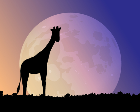 Big moon in the night. Giraffe silhouette vector illustration. A beautiful glow of blue and pink. Illustration