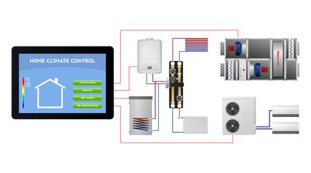 엔지니어링 스마트 홈 시스템. 무선 기술 벡터 일러스트 레이 션. 환기, 난방, 온수, 에어컨.