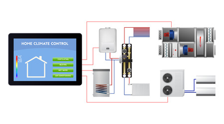 Engineering smart home-systeem. Draadloze technologie vectorillustratie. Ventilatie, verwarming, warm water, airconditioning. Stock Illustratie