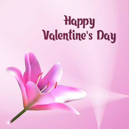 Happy Valentines Day. Greeting card vector illustration. Postcard with flower of the Lily. E-card pastel pink tones. Ilustracja