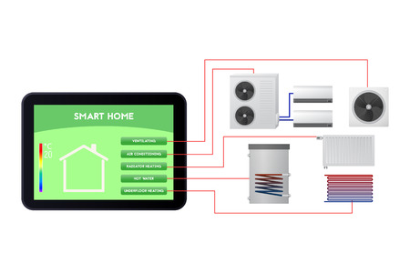 Smart home automated. Climate monitoring vector illustration. Ventilation, air conditioning, radiator heating, hot water, Underfloor heating. Banque d'images - 90594865