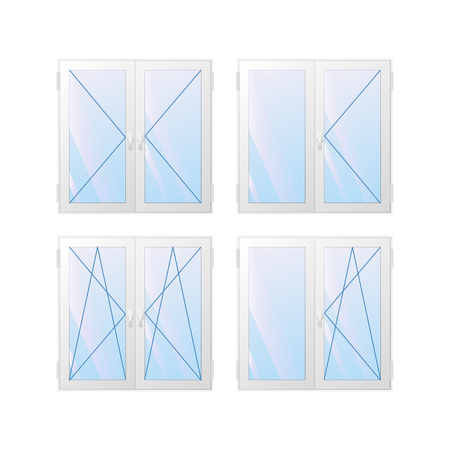 Window types of construction. A square frame. Vector illustration.
