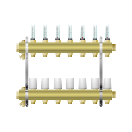 Manifold for heating with flow meters servo drive vector illustration. Connect the pipes to warm the floor.