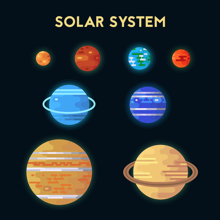 Collection of flat icons solar system. Science vector illustration.