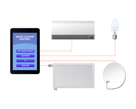 Control your smart home. Mobile technological innovations vector illustration. Air conditioning, lighting, television, heating. Banque d'images - 91183578
