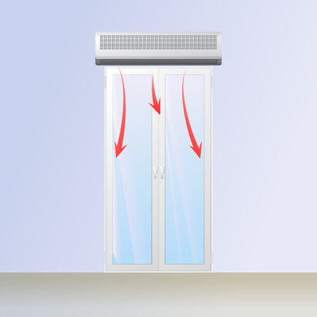 Air curtain above the entry. Warm flow blowing on the glass. Vector illustration.