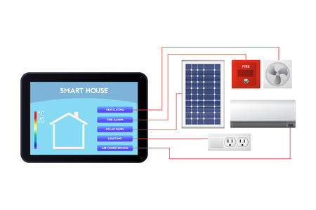 Smart house administration. The control device vector illustration. Ventilation, fire alarm, solar panel, lighting, air conditioning. Banque d'images - 91373898