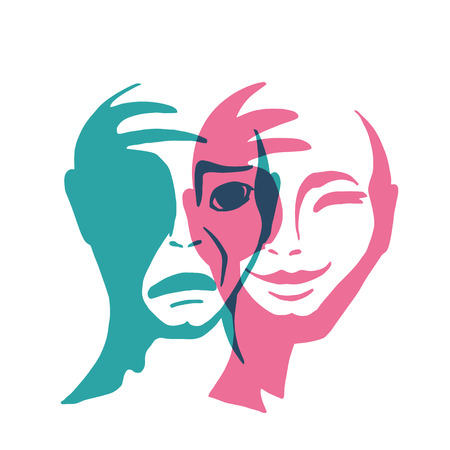 Split personality vector illustration. The mask of happiness and sadness. The contrast of human emotions. Çizim