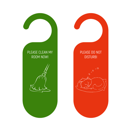 Hotel Door red and green hanger. Do Not Disturb Sign and clean my room label. Broom Besom and sleeping cat. Vector illustration.