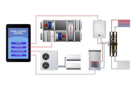 Engineering smart home system. Wireless mobile technology vector illustration. Ventilation, heating, hot water, air conditioning. Banque d'images - 91804498